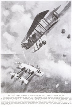 An Aerial Duel Between a British Biplane and a Large German Biplane.