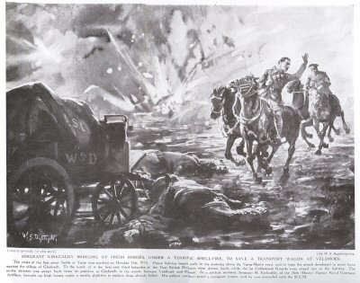 Sergeant Kirkcaldy Bringing Up Fresh Horses, Under A Terrific Shell Fire To Save A Transport Wagon At Veldhoek.