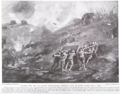 Gunner Pond And His Fellow Artillerymen Wheeling Guns To Cover Under Heavy Fire.