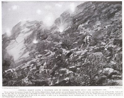 Corporal Bassett Laying A Telephone Line At Chunuk Bair Under Heavy And Continuous Fire.