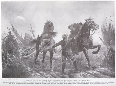 Driver Brown Returning With wounded on horseback From The Firing Line.