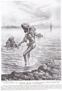Havildar Ghulam Nabi, Lance-Naik Nur Dad And Sapper Ghulam Haidar Swimming The Tigris To Prepare A Flying Bridge.