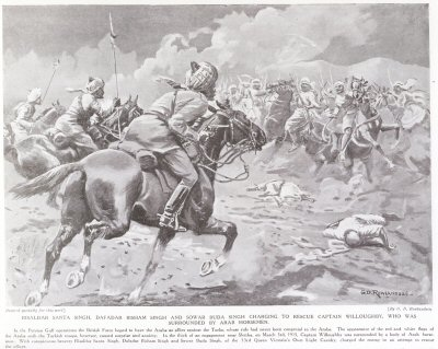 Risadar Santa Singh, Dafadar Bisham Singh And Sowar Buda Singh Charging To Rescue Captain Willoughby, Who Was Surrounded By Arab Horsemen.