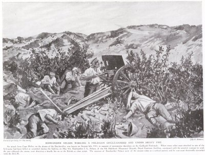 Bombardier Nelson Working A Field Gun Single Handed And Under Heavy Fire.