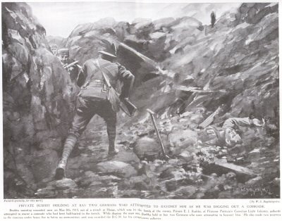 Private Bushby Holding At Bay Two Germans who attempted to Bayonet Him as He Was Digging Out A Comrade.
