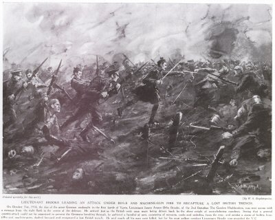 Lieutenant Brooke Leading An Attack Under Rifle And Machine Gun Fire To Recapture A Lost British Trench.