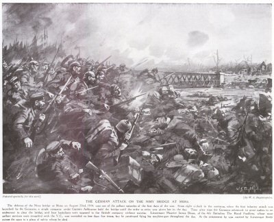 The German attack on the Nimy Bridge At Mons.