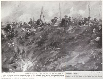 Sergeant Wilkie Leads His Men On To The Top Of A German Parapet.
