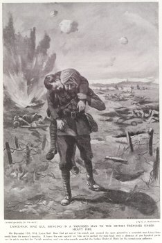 Lance-Naik Biaz Gul Bringing In A Wounded Man To The British Trenches Under Heavy Fire.
