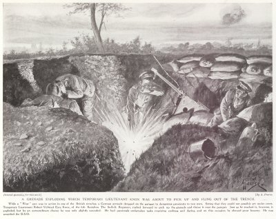 A Grenade Exploding Which Temporary Lieutenant Knox Was about To Pick Up And Fling Out Of The Trench.