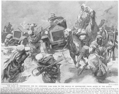 The Duke of Westminster and his armoured cars dash to the rescue of shipwrecked crews seized by the Senussi.