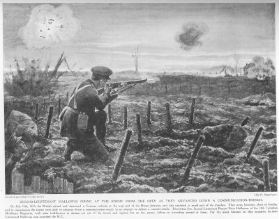 Second Lieutenant Hallowes firing at the enemy from the open as they advanced down a communication trench.