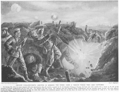 Private Chillingworth assisting in bombing the enemy from a trench, which they had captured.