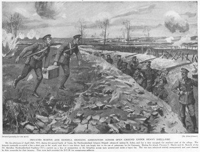 Privates Martin and Burrell bringing ammunition across open ground under heavy shellfire.