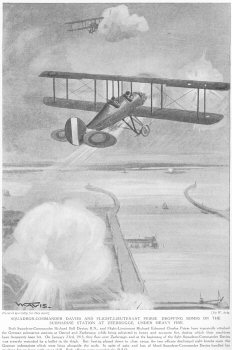 Squadron Commander Davies and Flight Lieutenant Peirse dropping bombs on the submarine station at Zeebrugge under heavy fire.