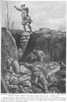 Private Brown bombing the enemy from the top of a barricade.