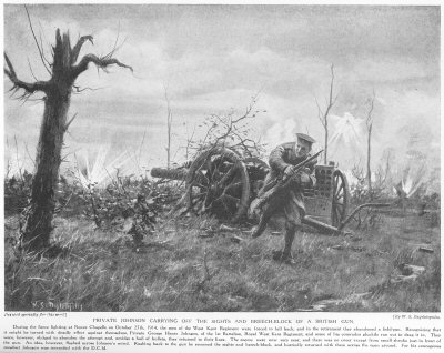 Private Johnson Carrying off the sights and breechblock of a British gun.