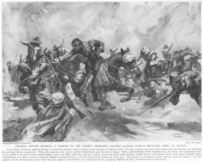 Colonel Souter heading a charge of the Dorset Yeomanry against Gaafer Pashas defeated army at Agagia.
