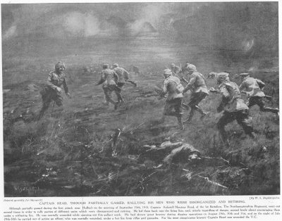 Captain Read, though partially gassed, rallying his men who were disorganised and retiring.