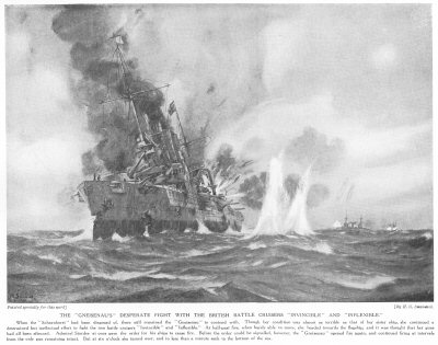 The Gneisenaus desperate fight with the British battle cruisers Invincible and Inflexible.