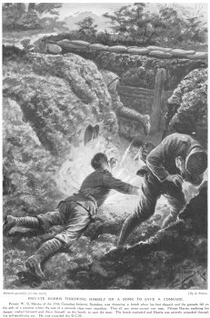 Private Harris throwing himself on a bomb to save a comrade.