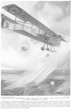 Second Lieutenant Henderson Flying down into the British lines after his left leg had been severed by a shell.