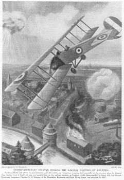 Second Lieutenant Strange bombing the railway junction at Courtral.
