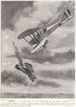 Corporal J. H. Waller Dives On To An Enemy Biplane And Shoots It Down.