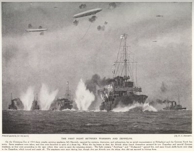 The First Fight Between Warships And Zeppelins.