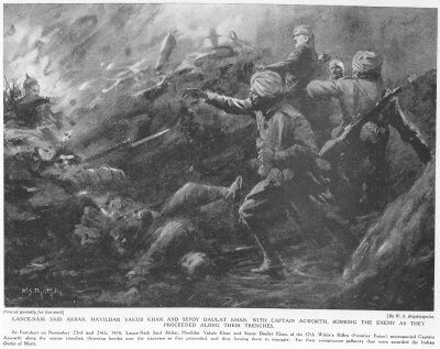 Lance-Naik Said Akbar, Havildar Yakub Khan Sepoy Daulat Khan, with Captain Acworth, Bombing The Enemy As They Proceeded Along their Trenches.