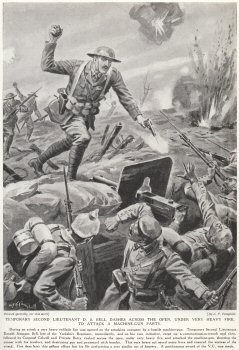 Temporary Second Lieutenant D. S. Bell Dashes Across The Open, Under Very Heavy fire, To Attack A Machine Gun Party.