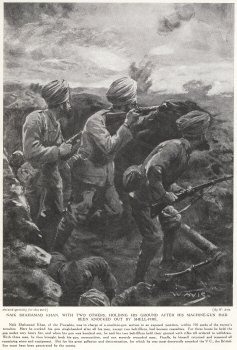 Naik Shahamad Khan, With Two Others, Holding His Ground After His Machine Gun Had Been Knocked Out By Shellfire.