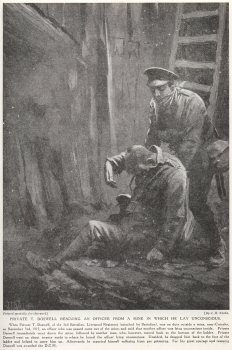 Private T. Doswell Rescuing An Officer From A Mine In Which He Lay Unconscious.