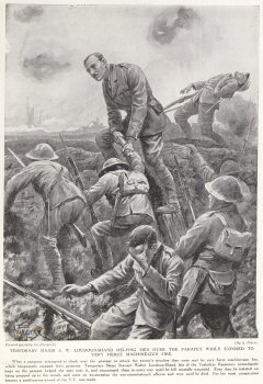 Temporary Major S. W. Loudoun-Shand Helping Men Over The Parapet While Exposed To Very Fierce Machine Gun Fire.