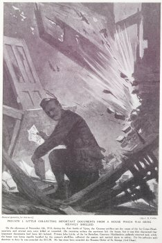 Private J. Little Collecting Important Documents From A house Which Was Being Heavily Shelled.