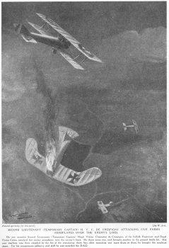 Second Lieutenant (Temporary Captain) H. V. C. De Crespigny Attacking Five enemy Aeroplanes Over The Enemys Lines.