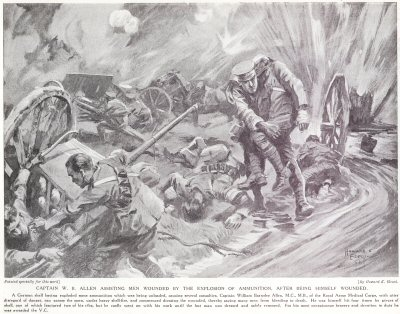 Captain W. B. Allen Assisting Men Wounded By The Explosion Of Ammunition, after being himself wounded.
