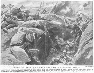 Private R. Ryder Dashes Unsupported At An Enemy Trench And Clears It With A Lewis Gun.