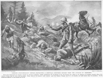 Saddler Staff Sergeant Simpson Protecting A Mortally Wounded Officer From The Attacks Of Tribesmen.