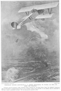 Temporary Second Lieutenant L. F. Forbes Descending To Within 350 Feet To Bomb The Railway.