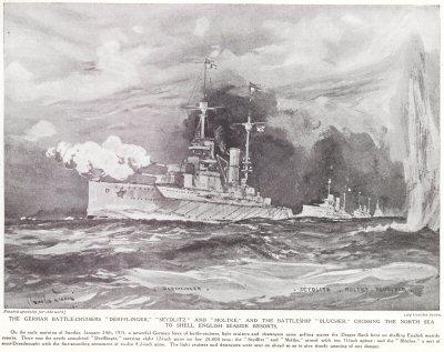 The German Battle Cruisers Derflinger, Seydlitz And Moltke, And The Battleship Blucher, The North Sea To Shell English Seaside Resorts.