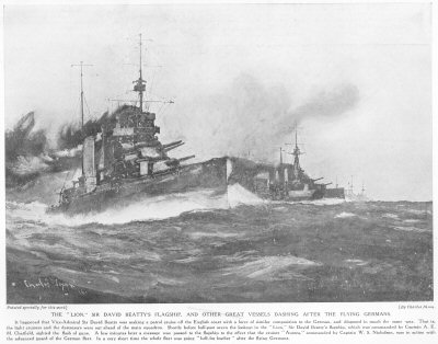 The Lion, Sir David Beattys flagship, And Other Great Vessels Dashing After The flying Germans.