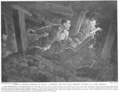 Sapper W. Hackett Refuses To Leave A Comrade Who Was Lying Seriously Injured In A Mine Gallery.