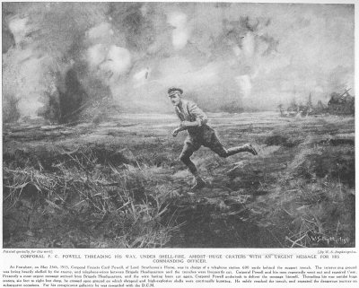 Corporal F. C. Powell Threading His Way, Under Shellfire, Amidst Huge Craters With An Urgent Message For His Commanding Officer.
