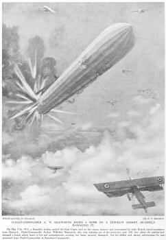 Flight Commander A. W. Bigsworth Drops A Bomb On A Zeppelin Airship, Severely Damaging It.