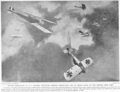 Second Lieutenant W. H. C. Buntine Attacking Hostile Aeroplanes, One Of Which Falls To The Ground Nose First.