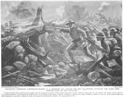 Lieutenant (Temporary Lieutenant-Colonel) R. B. Bradford, M.C., Rallies The Men Of Another Battalion And Leads Them Forward With His Own Battalion.