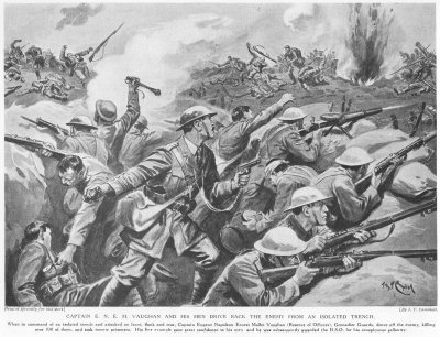 Captain E. N. E. M. Vaughan And His Men drive Back The Enemy From An Isolated Trench.