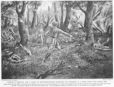 Captain E. Percival And A Party Of Stretcher-Bearers Searching For Wounded In a Wood, Which Was Under Fire.