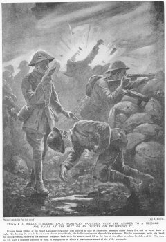 Private J. Miller Staggers Back, Mortally Wounded, With The Answer To A Message And Falls At The Feet Of An Officer On Delivering It.